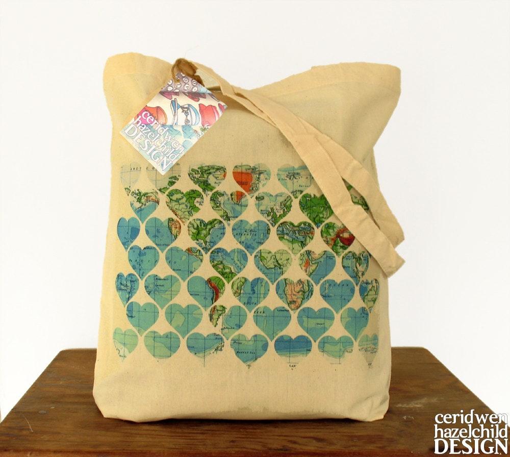 Vintage World Map Hearts Illustration Eco Cotton Tote Bag