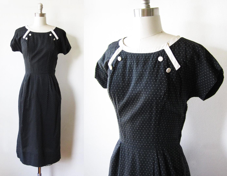 black and white polka dot 1950s vintage dress