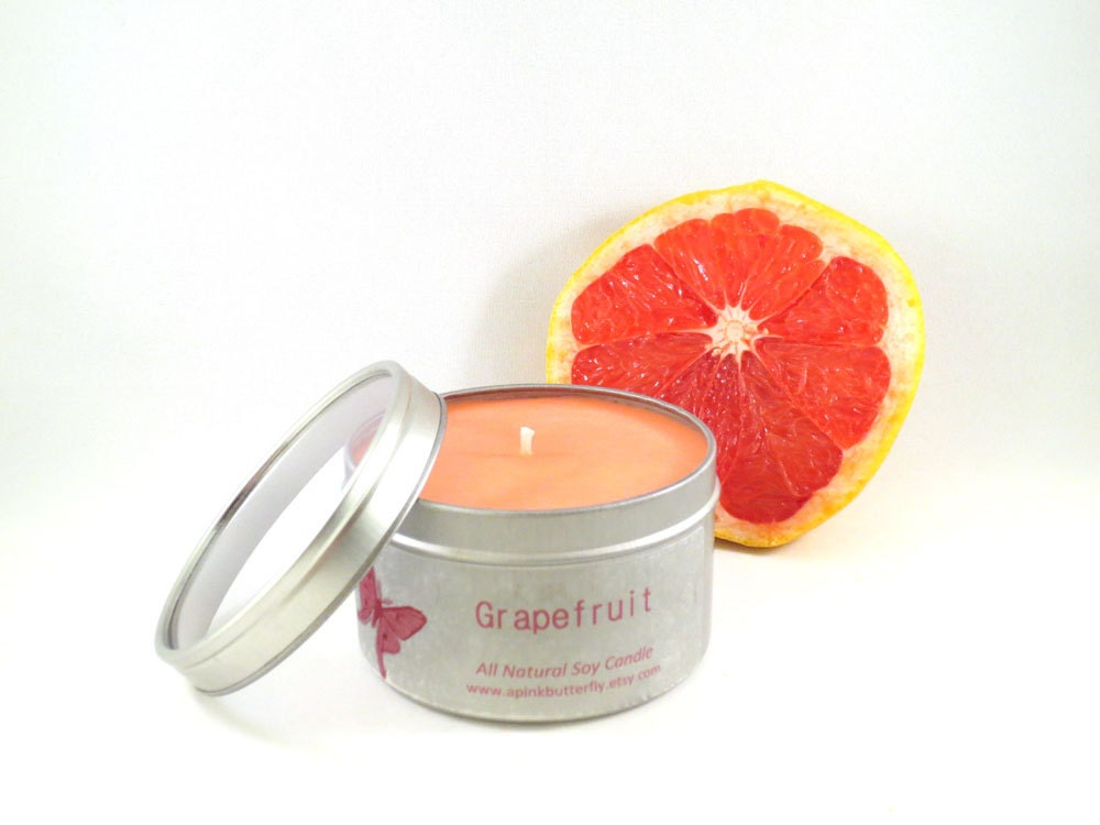 Grapefruit Soy Candle -- 8 oz Tin - aPinkButterfly