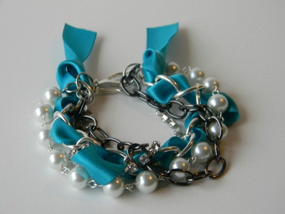 Tina Marie layered Bracelet Teal Ribbon, Rhinestones, & Pearls