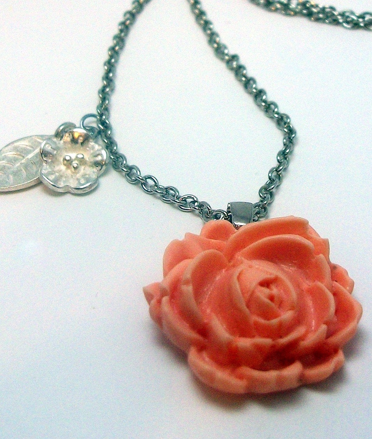 Peach Tea Rose Necklace FREE Shipping