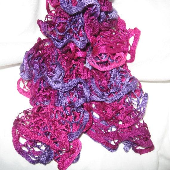Knit Ruffle Scarf Pattern Starbella : Ruffled Hand Knitted Starbella Yarn Scarf by 2SistersGoCrafting