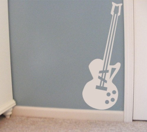 Music Classroom Wall Decorations ~ Guitar vinyl wall decal music decor for kids by householdwords