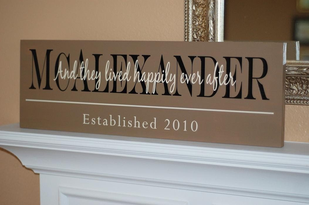 PAINTED Custom Family Name Wood Sign Plaque - Item Number ETS-73