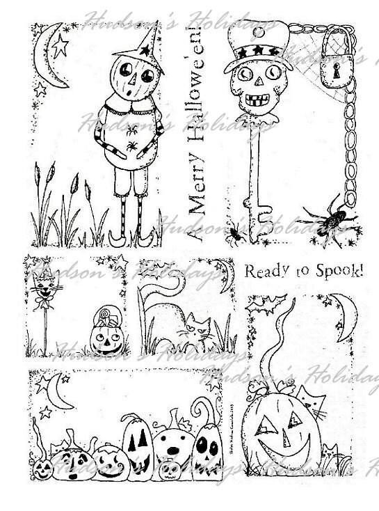 old HALLOWEEN ART LABELS-  Paper Sheet  vintage like Pumpkin cat skeleton skull collage sayings scrapbooking primitive tag digital