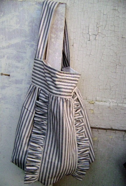 French Market Bag ... vintage black and cream french ticking ruffle tote from down de bayou