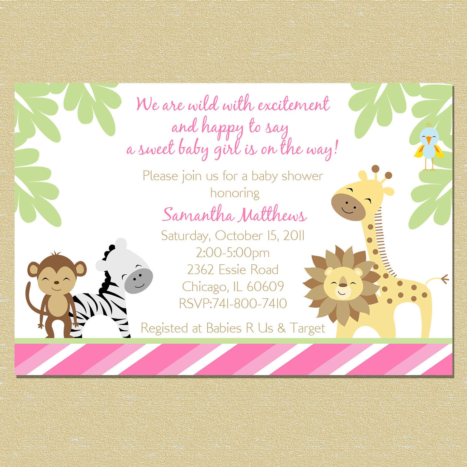 pink jungle baby shower invitation girl by littlemunchkinprints