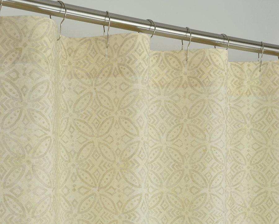 STALL Shower Curtain in Beige Batik 54 Wide x 78 by PondLilly