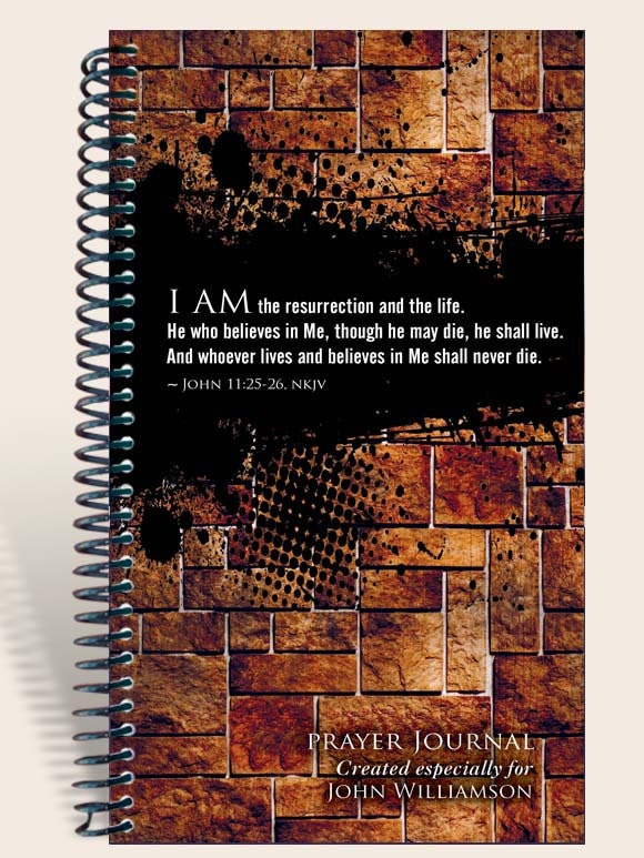 Prayer Journal Personalized - Grunge Wall John 11:25