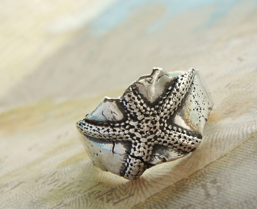 Starfish Silver Ring, Nautical Jewelry, Eco Friendly Recycled Fine Silver Ring, Beach Jewelry, Beach Lovers Gift Size 4 5 6 7 8 9 10 11 12