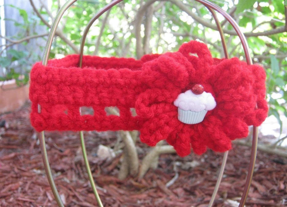 SALE Kawaii Cherry Red Cupcake Crochet Headband by PinkFrog4U from etsy.com