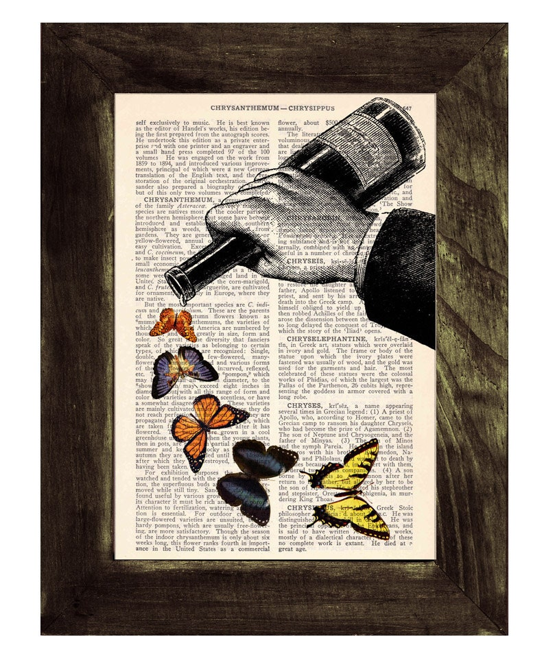 Book page art print - Butterflies and Wine bottle collage - Upcycled dictionary book print