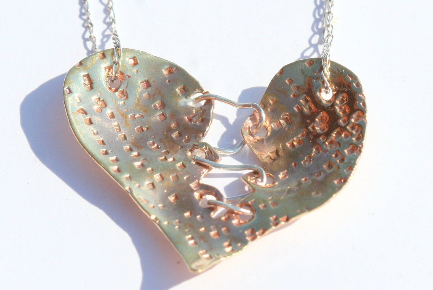 Brass and Sterling Silver Textured Sewn Heart - LesleyPridgen