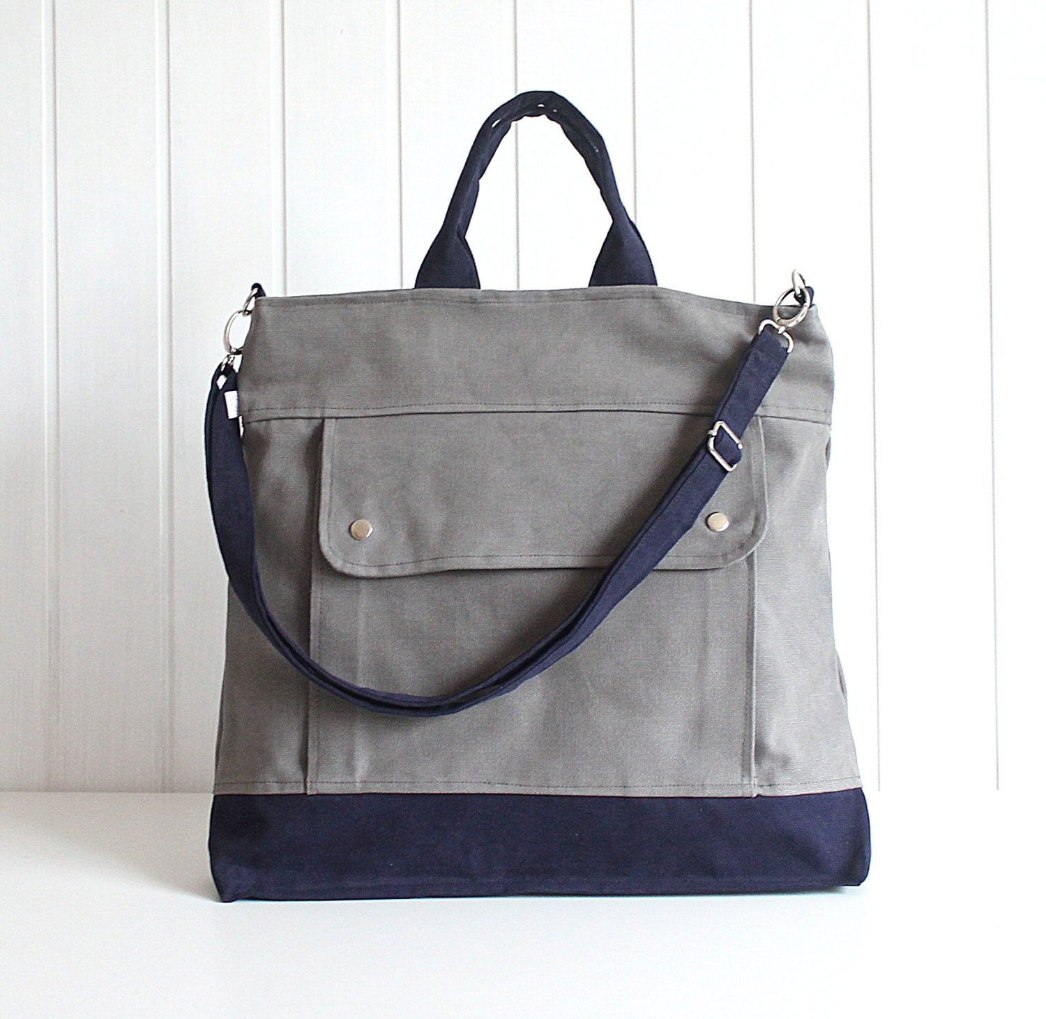 Men - Project Messenger Bag in Olive Grey with dark Navy - UNISEX BAG / Tote Bag / For her / For men / For women / For him / under 50 - bayanhippo