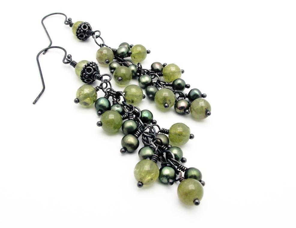 green garnet earrings green pearl earrings green garnet earrings dangle earrings pearl cluster earrings autumn wedding bride jewelry - SharonClancyDesigns