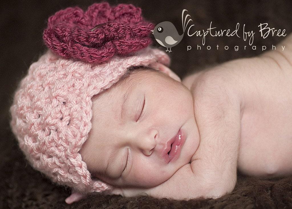 Розовый вязания крючком Cloche шапочка со съемной Сельский Роза - новорожденного - 12мес
