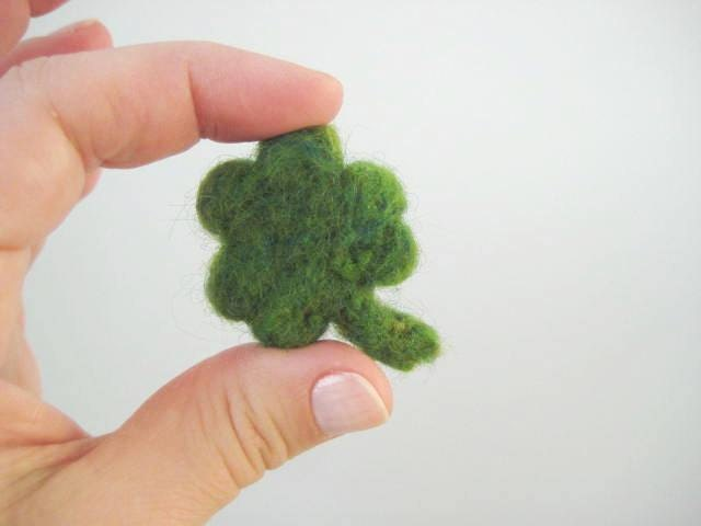 Needle Felted Shamrock - St. Patricks Day - Good Luck Charm - 100% Natural Wool - Rustic - Natural