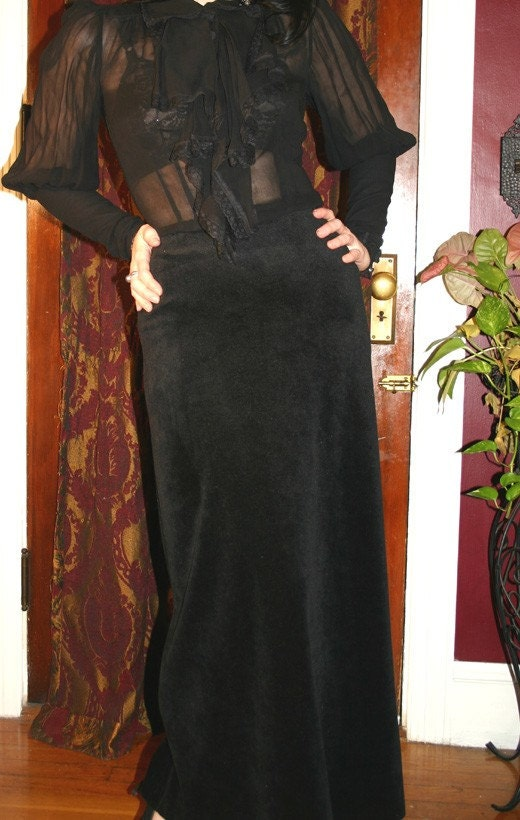 Vintage Gothic Steampunk Black Long Velvet Skirt Small