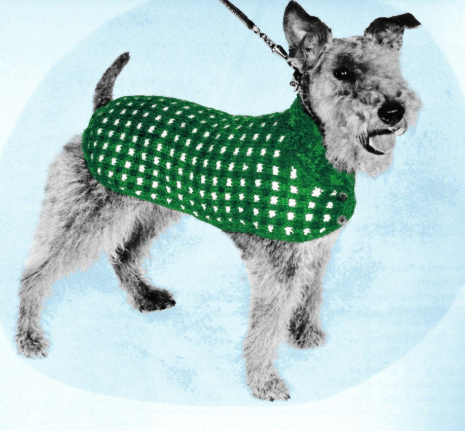 Vintage Knitting Pattern Houndstooth Check Dog by 2ndlookvintage