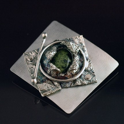 Sterling Silver and Moss Agate Brooch