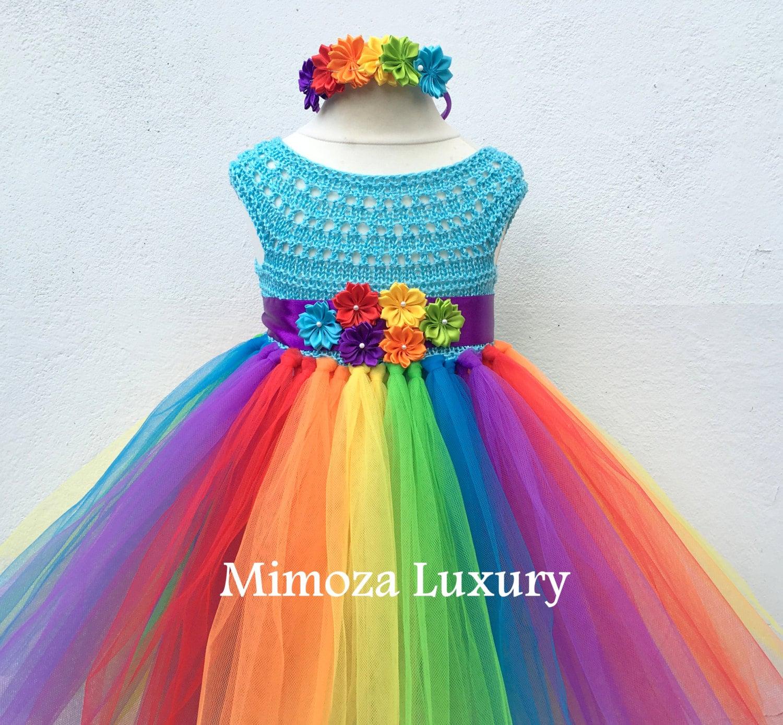 My Little Pony Birthday Tutu Dress Rainbow tutu dress my little pony tutu dress crochet top tulle dress hand knit top tutu halloween