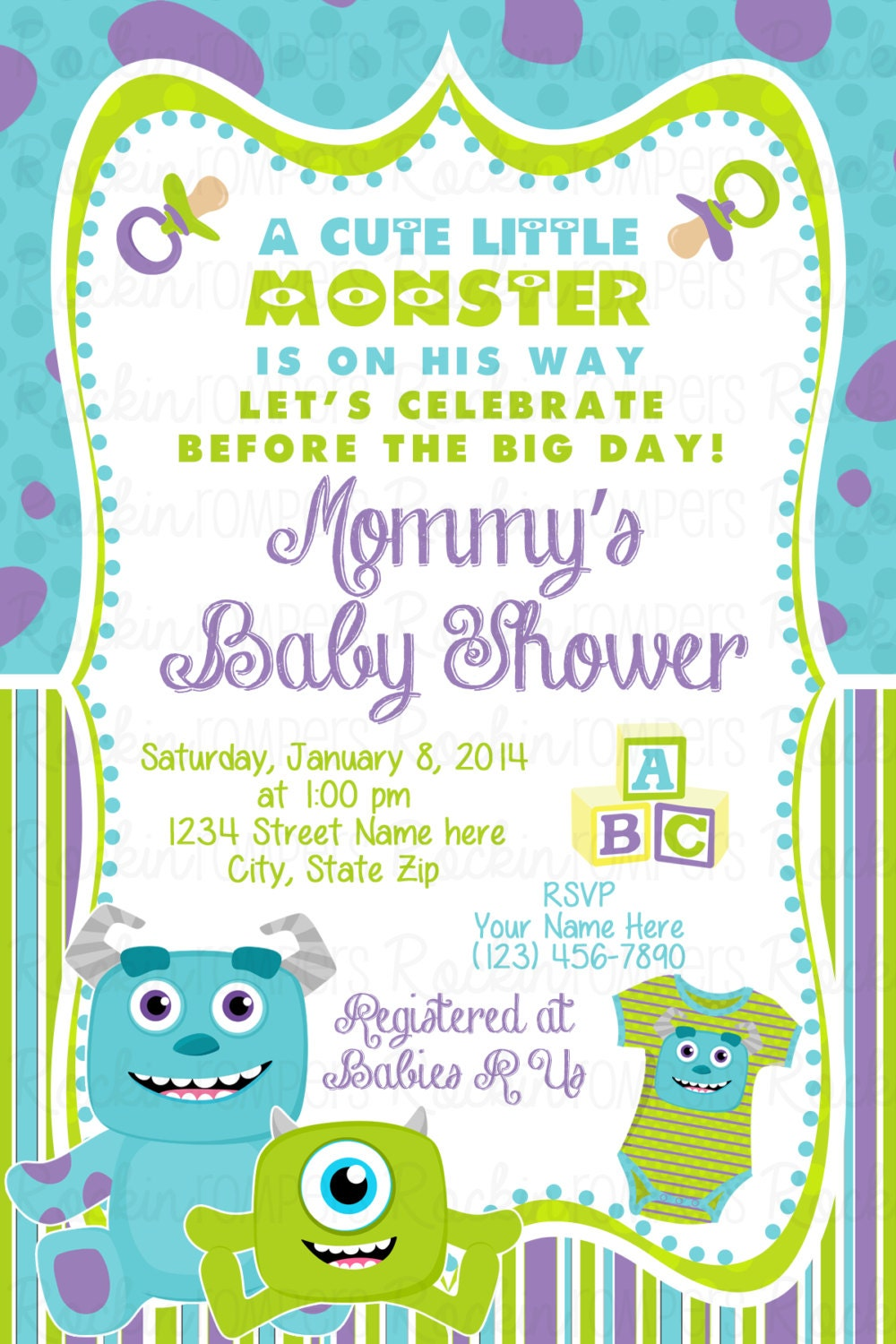 monsters inc inspired baby shower invitation
