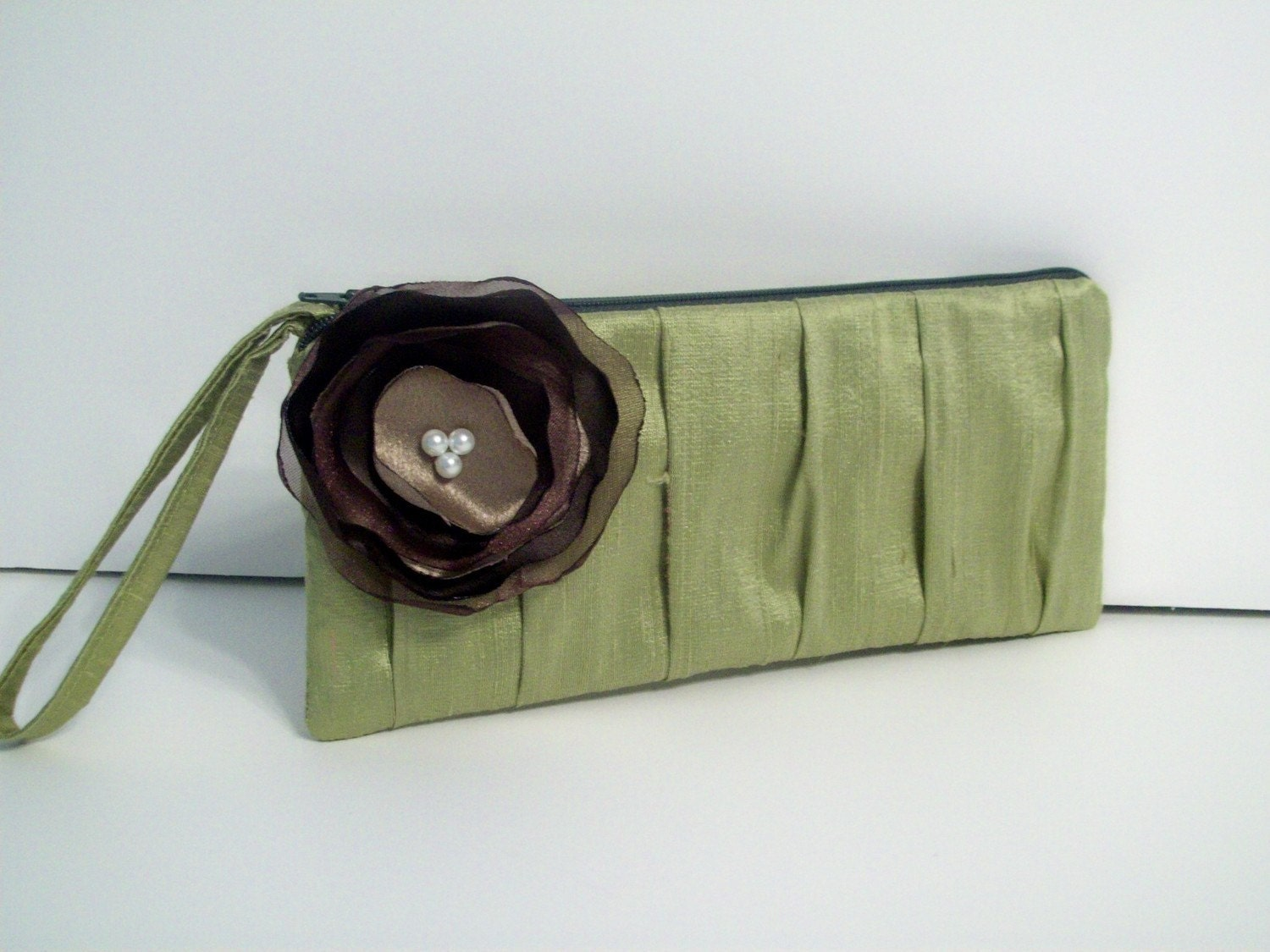 1 Pleated Clutch w/hidden wrist strap in Pistachio Silk Dupioni w/Chocolate and Latte Poppy (choose your colors) Monogramming available