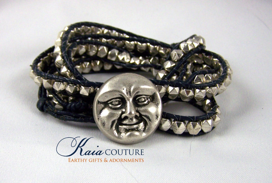 Wrap Bracelet, Blue Leather, 5 wrap, Moon Face Design,  Leather Jewelry, Available in All Colors