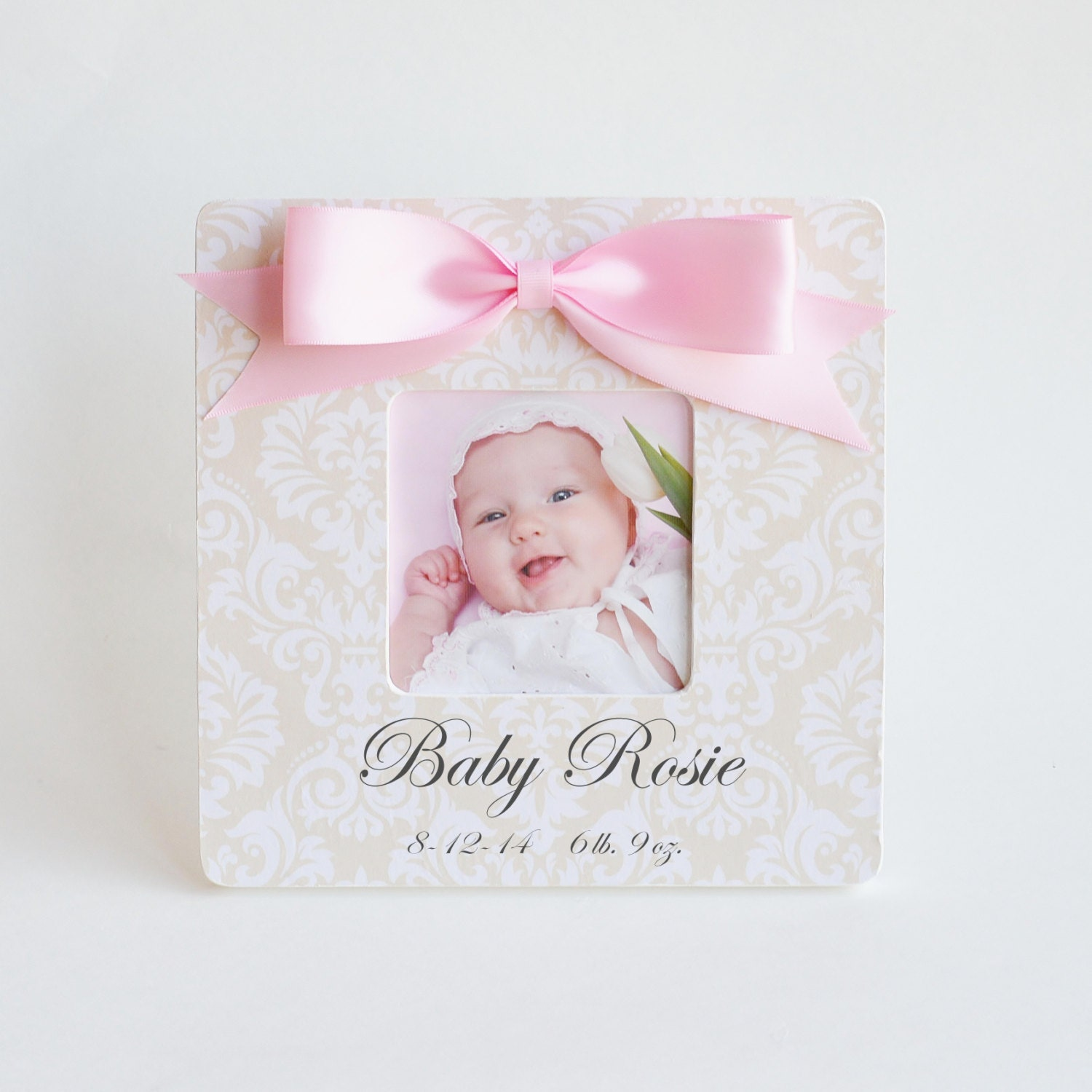 3Inch Crystal Heart Round Baby Photo Frame Metal Alloy