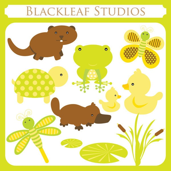 Baby Pond Animals Instant Download Clipart by blackleafdesign