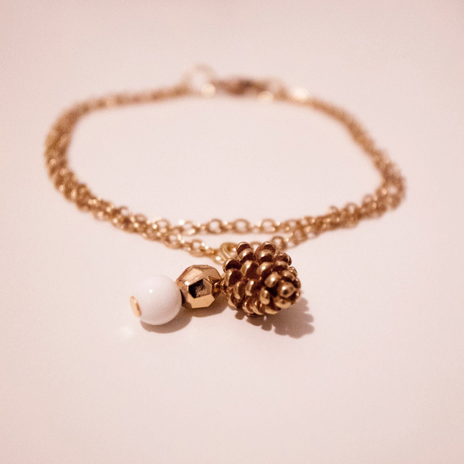 Gold Plated Acorn Double-Chained Bracelet - Getting Ready for Fall/Autumn - Custom Order Available