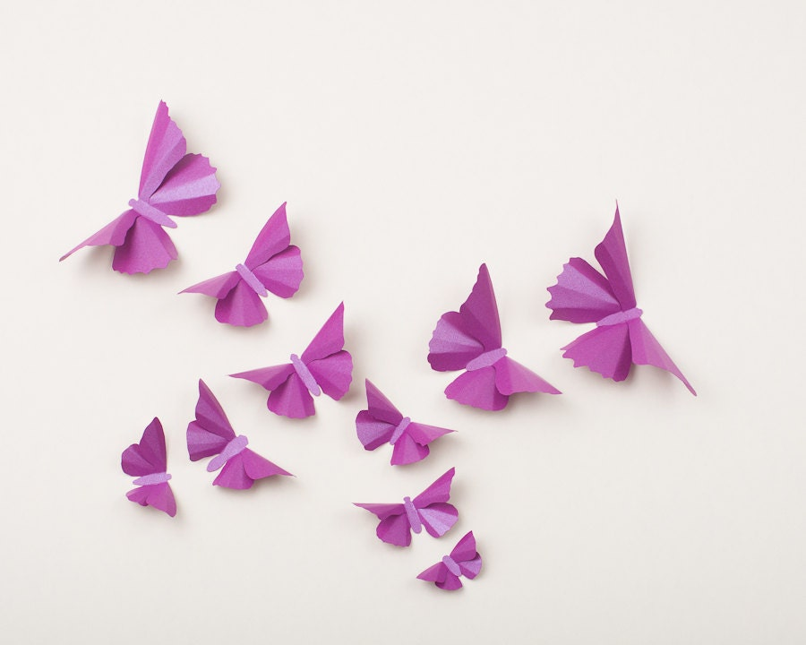 3D Wall Butterflies: Orchid Purple Metallic Butterfly Silhouettes for Girls Room, Nursery, and Home Art Decor - hipandclavicle