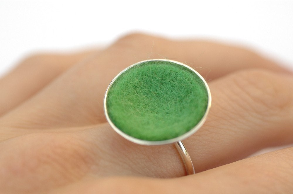 Felt Series Ring, Larger Dome in Grass Green, Size 5 and a half- Ready to Ship