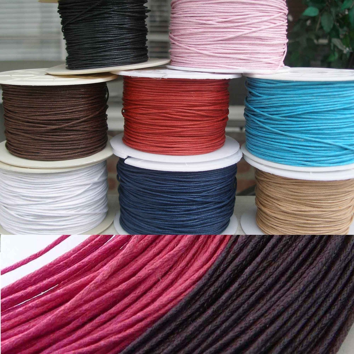 Necklace Cords Multi-Strand Waxed Cotton 20pc - Any length - 6 colors for Tile Pendants/Aanraku Bails