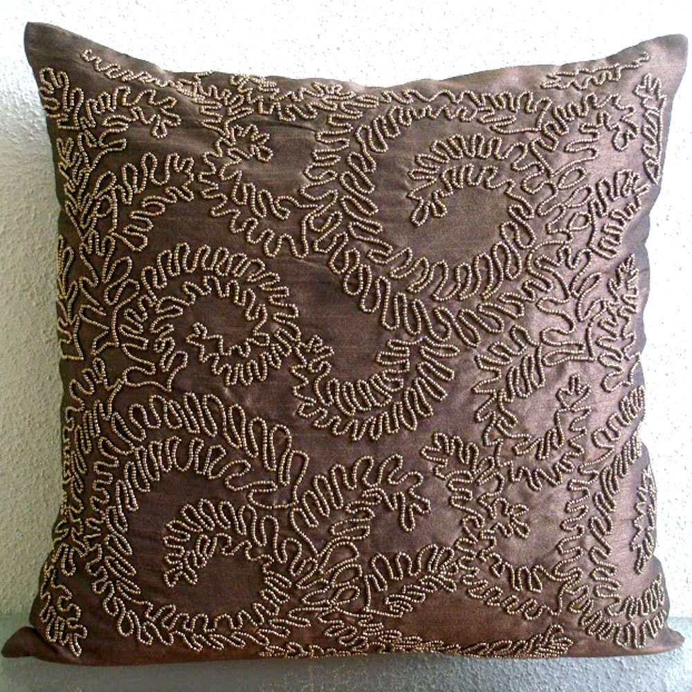 Decorative throw pillow covers 16x16 silk pillow by - Throw pillows for brown sofa ...