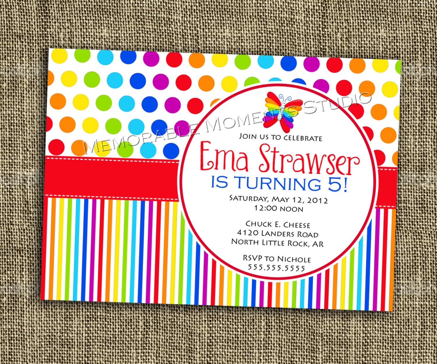 40th Birthday Ideas: Rainbow Birthday Invitation Templates