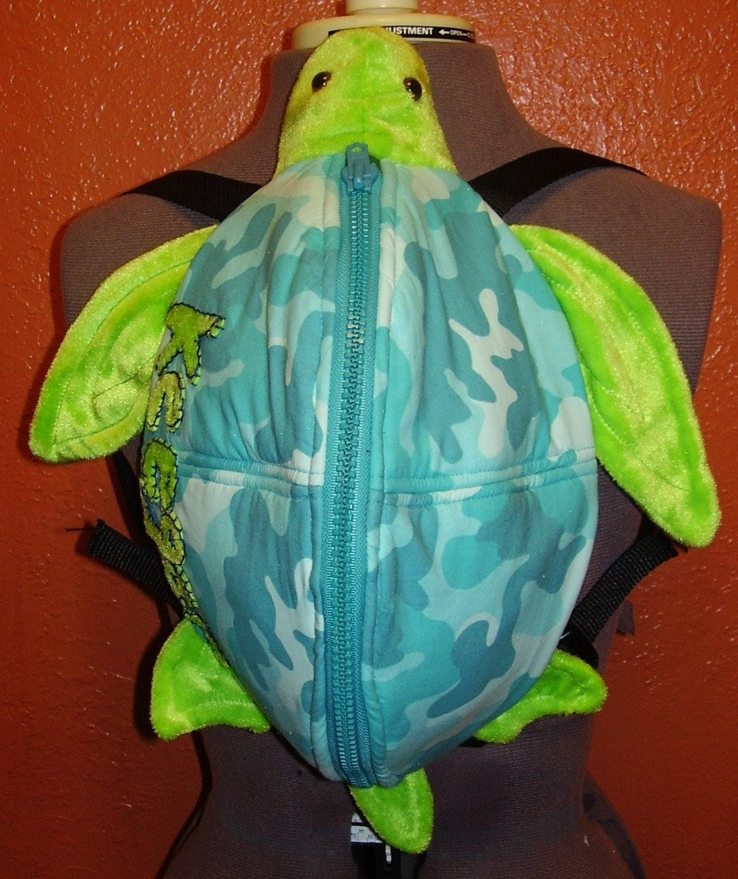 Etsy :: ladymantis :: Monogrammed Sea Turtle Backpack- Teal Camo from etsy.com