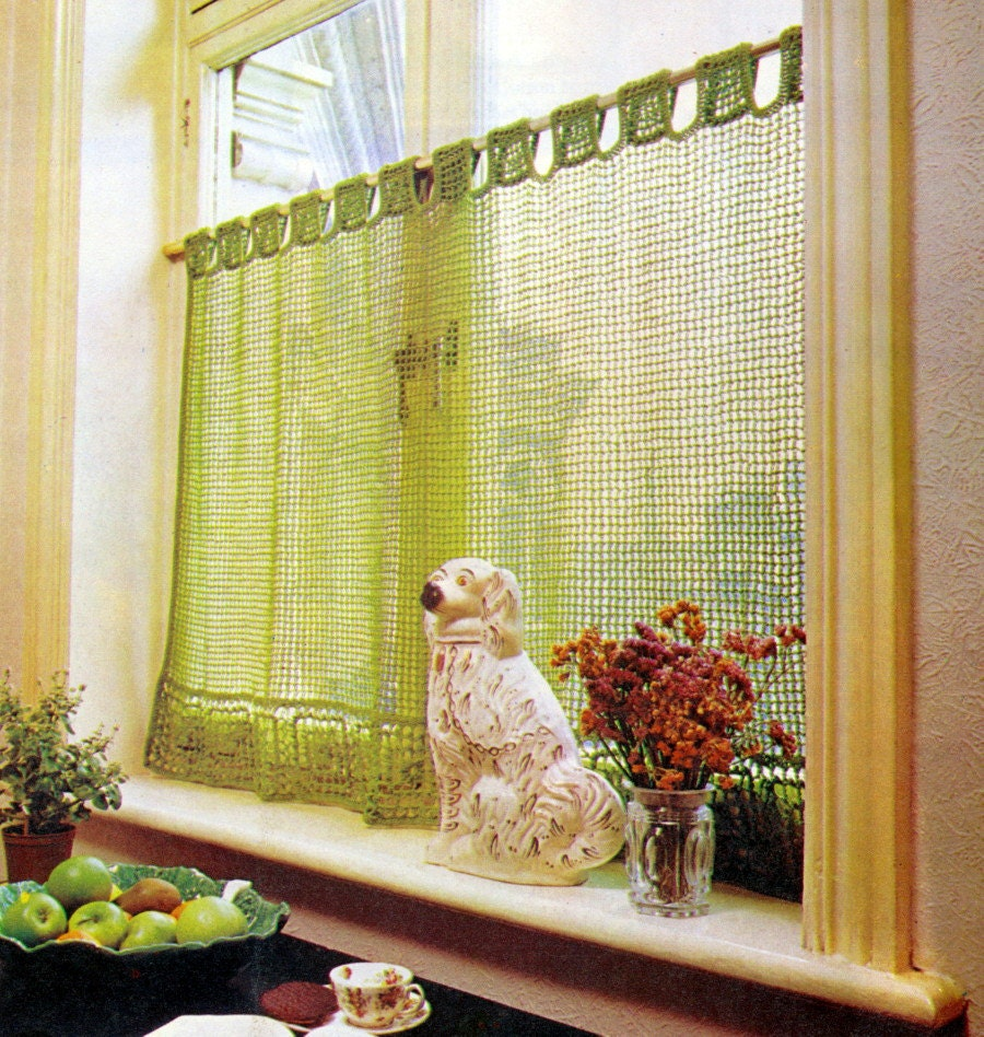Crochet Pattern Lace Cafe Curtain Filet Vintage By