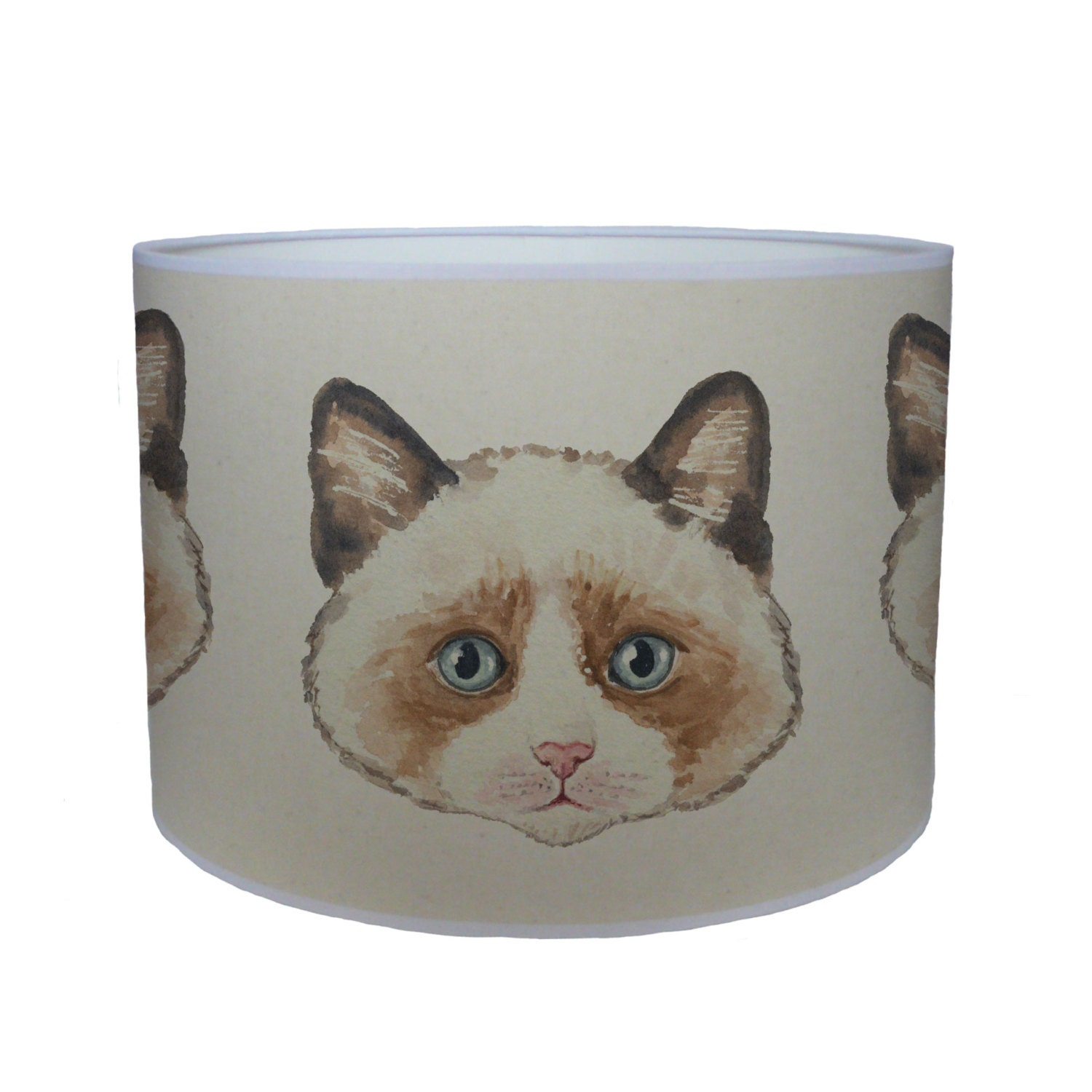 Brown cat shade lamp shade ceiling shade drum lampshade lighting handmade home