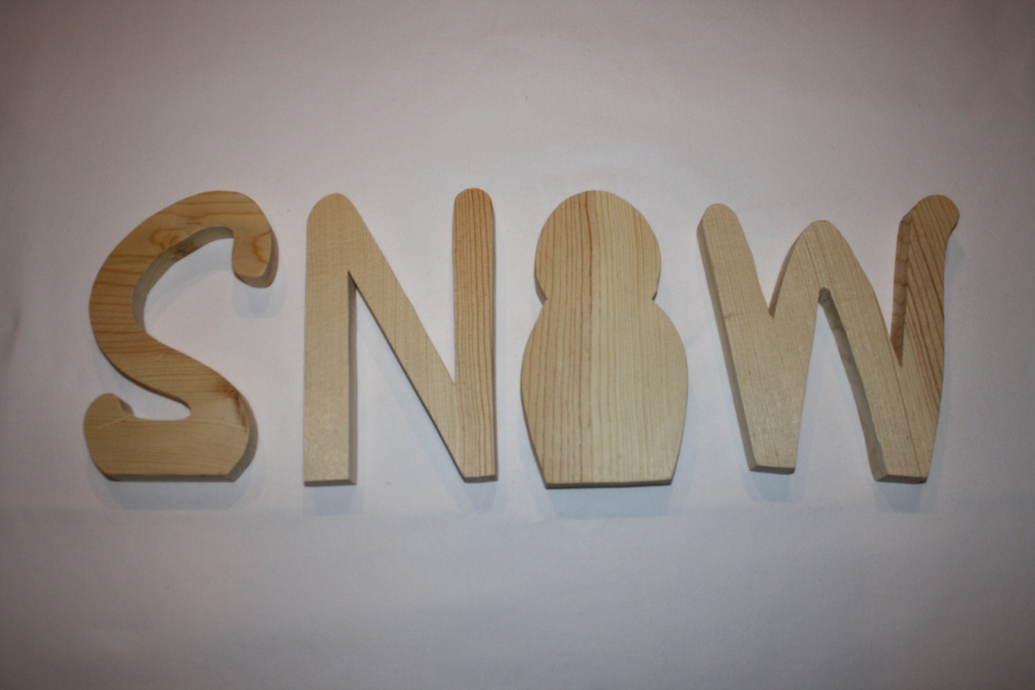 Snow unfinished wood word to decorate your home for the season