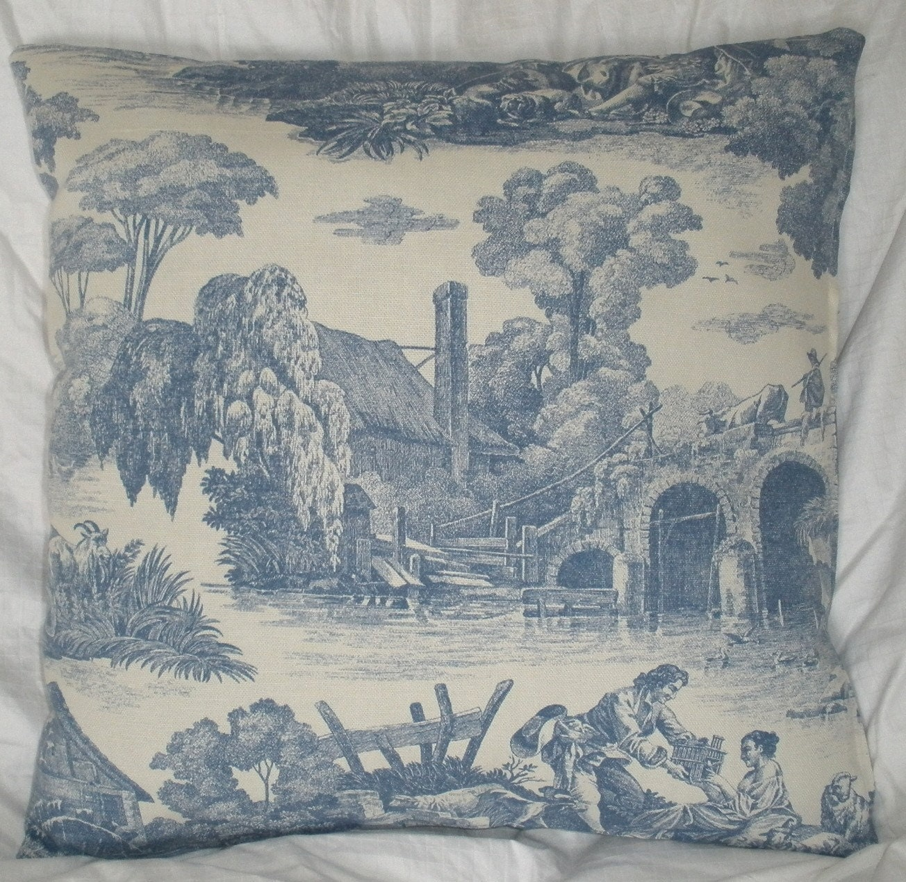 sale french toile decorative pillow cover 18x18 by homeliving. Black Bedroom Furniture Sets. Home Design Ideas