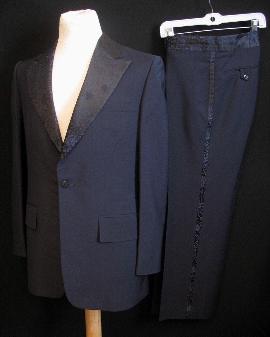 Vtg 70s Formal Brocade Trim Suit Tux Jacket 40 Stripes