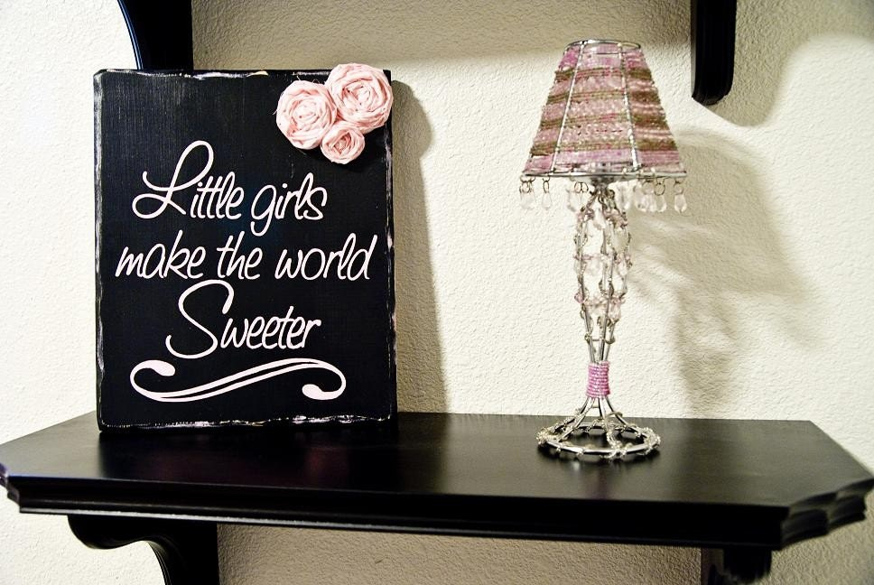 Little Girls Make the World Sweeter - With Pink Fabric Rosettes....Distressed Shabby Chic Wall Sign...Solid Wood...Pink and Black
