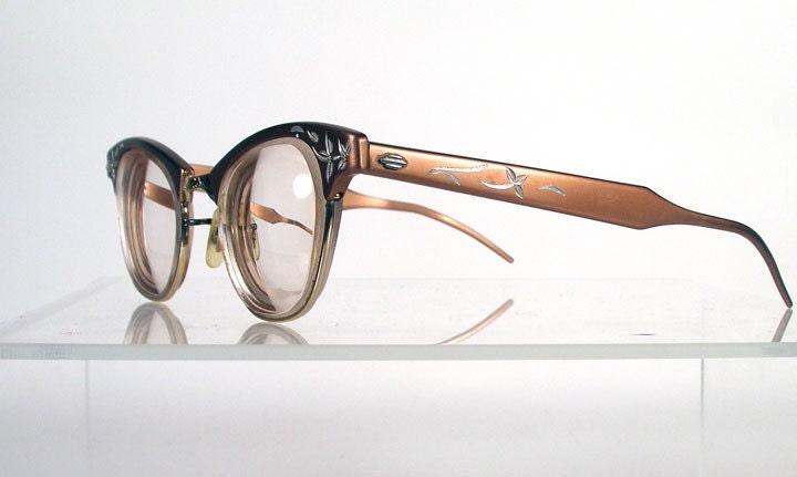 Vintage ART CRAFT Copper Aluminum Etched Eyeglass Frames