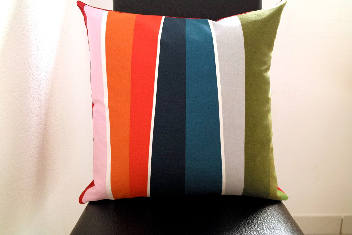 """Cushion cover 18""""x18"""" Colorful rainbow - RED -"""