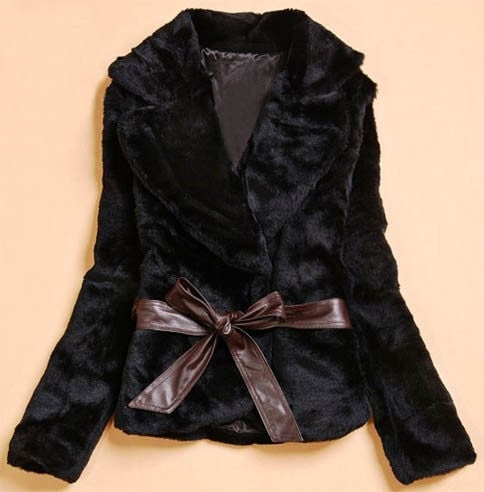 Black Faux Fur Women Blazer Coat Jacket S M L