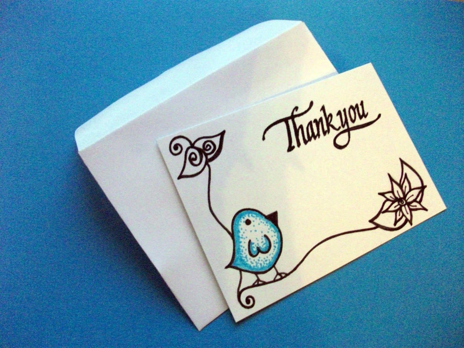 Thank You Tags- Unique Original Drawings- Dotty Birds, set of 6