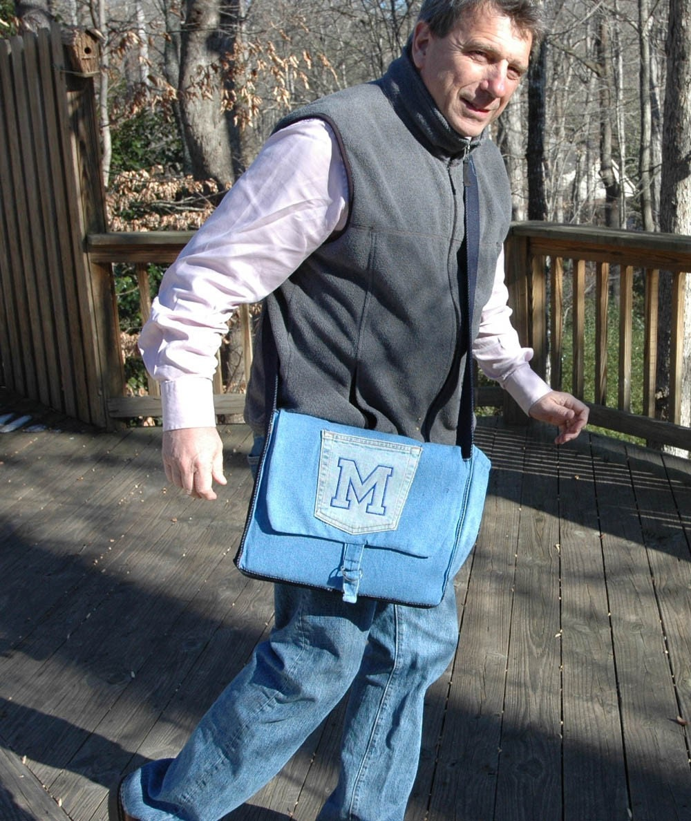 Monogrammed Eco Padded Blue Denim Laptop Messenger Bag