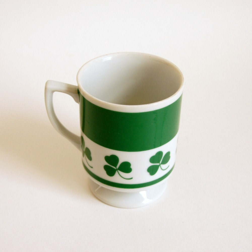 St. Patrick's Day Mug, Shamrock Pedestal Mug, Lefton Irish Coffee Cup - SentimentalFavorites
