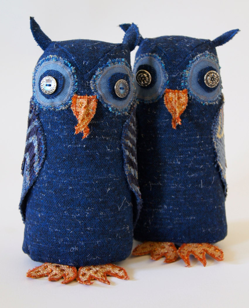 Fabric Owl / Vintage Wool / Blue Night Owl / Made to Order